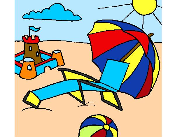 Dibujo de playasol y arena pintado por Raquel03 en Dibujosnet el