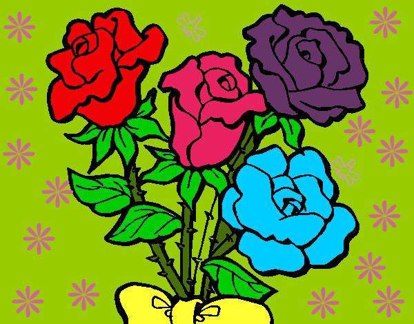 Dibujo de mis hermosas rosas pintado por Darismar en Dibujosnet