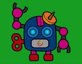Dibujo Robot con antena pintado por Ricky-tron