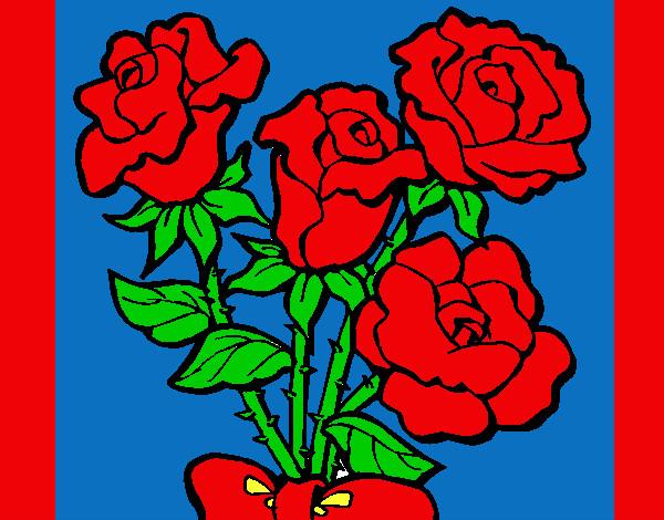 Dibujo de Ramo de Flores Rosas pintado por Zapdos en Dibujosnet