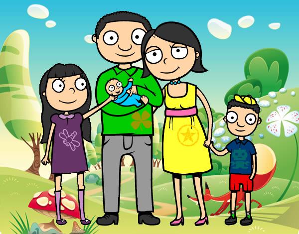 Dibujo de mi hermosa familia pintado - 115.3KB