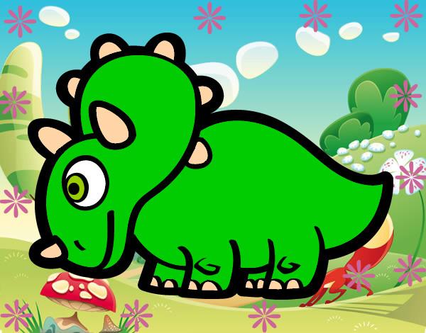 Dibujo de triceratops comiendo plantas pintado por Luisssssss en