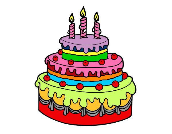 Dibuja Y Colorea Torta De Cumpleaños: Dibujo De Tarta De Cumpleaños Pintado Por Jablublu En