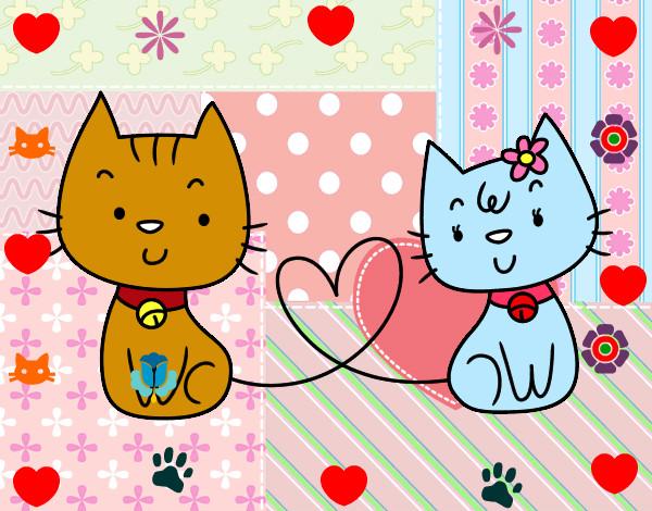 Imagenes de gatos dibujos de amor imagui - Dibujos de gatos pintados ...