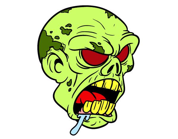 Dibujo De Cabeza De Zombi Para Colorear: Dibujo De Cabeza De Zombie Pintado Por Marea En Dibujos