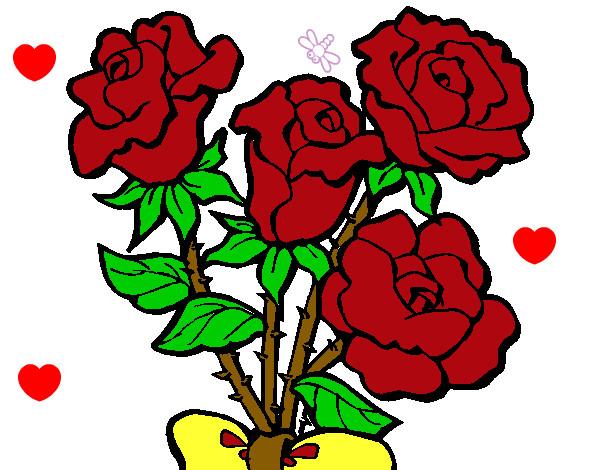 Dibujo de ramo de rosas pintado por Cazarez en Dibujosnet el da