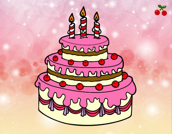 Dibuja Y Colorea Torta De Cumpleaños: Dibujo De Tarta De Cumple Pintado Por Keimy En Dibujos.net