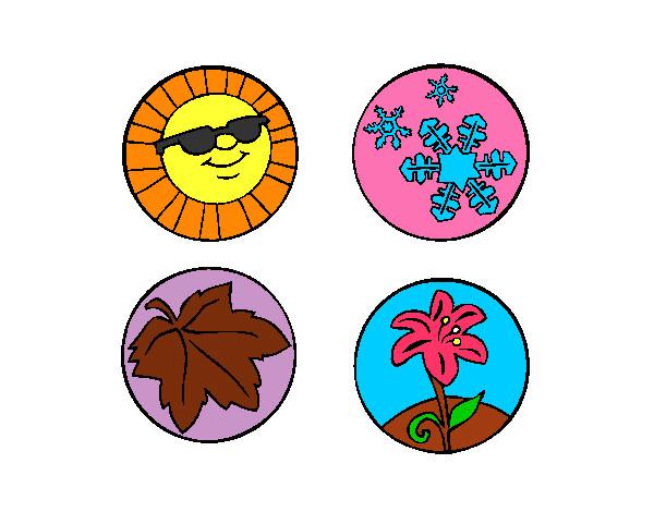 Dibujos De Las 4 Estaciones Para Colorear: Dibujo De ES UN DIBUJO DE LAS 4 ESTACIONES Pintado Por