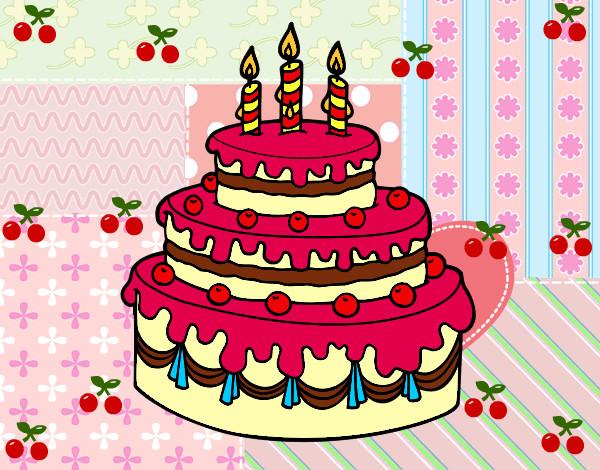 Dibujo de tarta de cumpleaños para mi mama pintado por ...