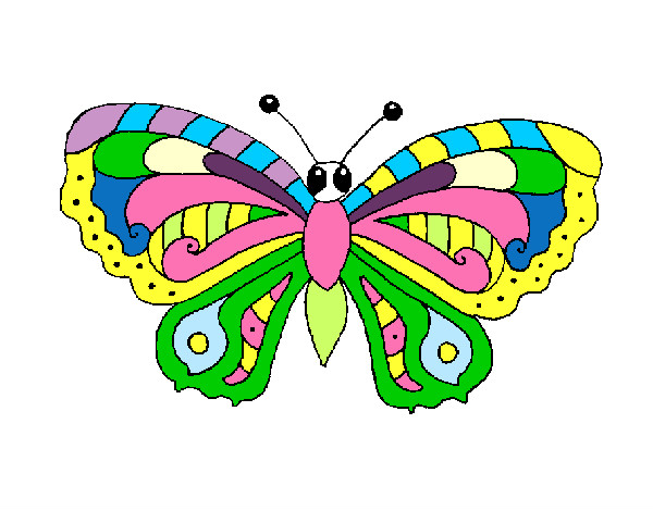Dibujo de mariposa de colores pintado por Dato en Dibujos.net el ...