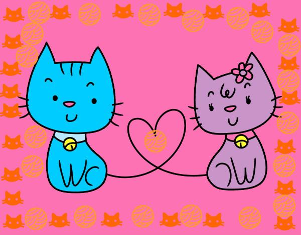 San Valentin Dibujos En Color: Dibujo De Gatitos Love Pintado Por Lucia61626 En Dibujos