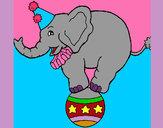 Dibujo Elefante encima de una pelota pintado por Dani08