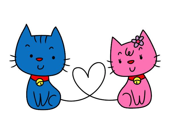 Dibujo de gatos enamorados pintado por flenchita en - Dibujos de gatos pintados ...