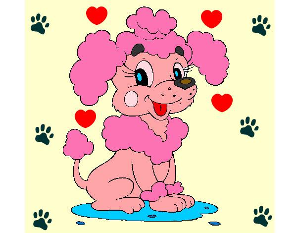 Dibujo de perrita de color rosa pintado por 10100 en Dibujosnet