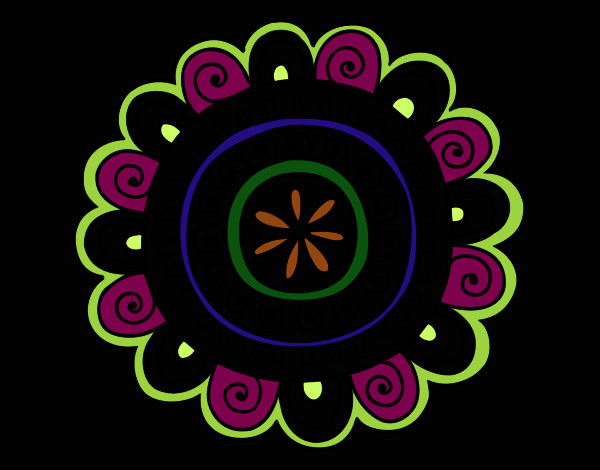Dibujo De Mandala Medio Alegre Pintado Por Malefica En