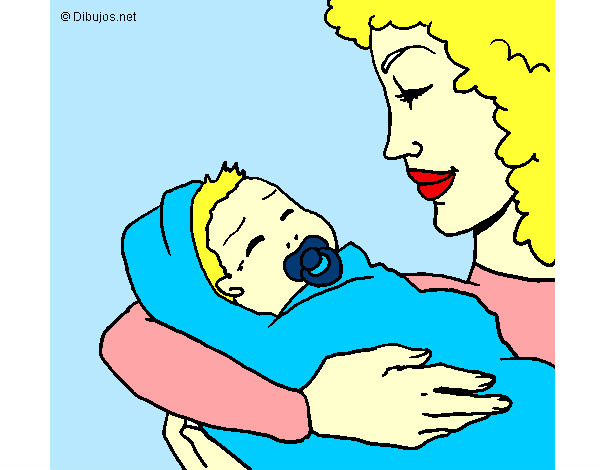 Dibujo De Cara De Niño Pequeño Para Colorear: Dibujo De Madre Con Su Bebe II Pintado Por Yanu En Dibujos