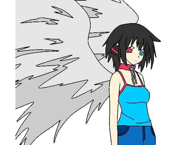 Dibujo De Ángel Con Grandes Alas 1 Pintado Por Anime-chan