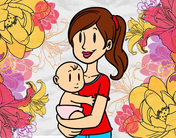 Dibujo de En brazos de mam pintado por Reiniz en Dibujosnet el