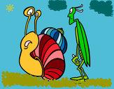 Dibujo Grillo y Caracol pintado por azalea200