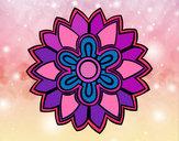 Dibujo Mándala con forma de flor weiss pintado por maitena