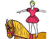 Dibujo Trapecista encima de caballo pintado por danelia