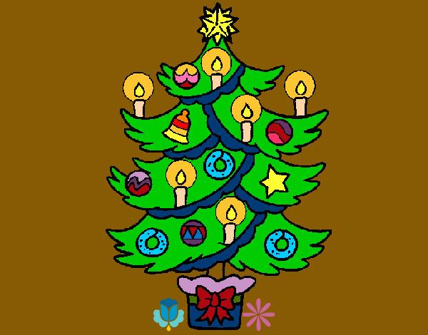 Dibujo de rbol de navidad con velas pintado por puchungas for Dibujos de navidad pintados