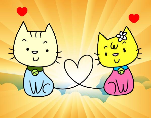 Dibujo de gatos enamorados pintado por paolii en dibujos - Dibujos de gatos pintados ...