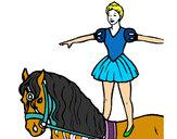 Dibujo Trapecista encima de caballo pintado por mechi72