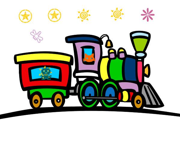 Dibujos de trenes para colorear de cinco vagones - Imagui