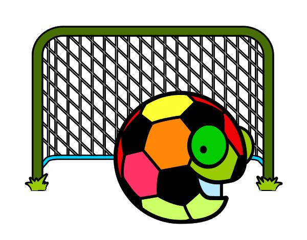 Dibujo De Jugador De Fútbol Con Balón Pintado Por En: Dibujo De Balón En La Portería Pintado Por Olyvr En
