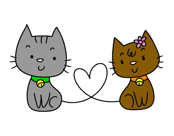 Dibujo de gatos enamorados pintado por isabeligna en - Dibujos de gatos pintados ...
