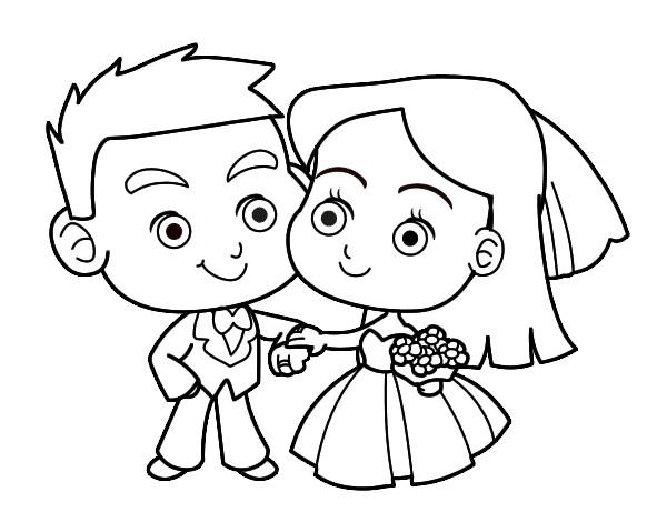 Dibujo de novios pintado por gcmazza en el d a for Immagini matrimonio da stampare