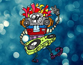 Dibujo Robot DJ pintado por azita
