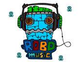 Dibujo Robot music pintado por mikez