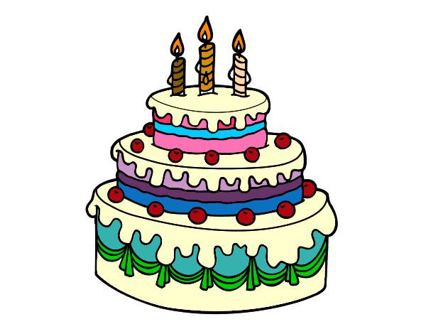 Dibuja Y Colorea Torta De Cumpleaños: Dibujo De Tarta De Cumpleaños Pintado Por Rosim En