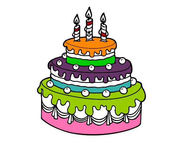 Dibuja Y Colorea Torta De Cumpleaños: Dibujo De Tarta De Cumpleaños Pintado Por Anabarby En