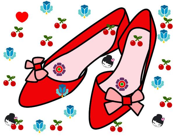 Dibujos De Lazos Para Imprimir Y Colorear: Dibujo De Zapatos Con Lazos Pintado Por Johana743 En
