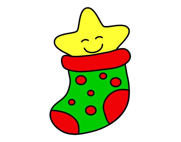 Dibujo de calcet n con estrella pintado por princesas2 en for Dibujos de navidad pintados