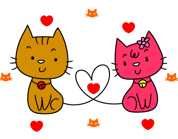 San Valentin Dibujos En Color: Dibujo De Gatos Enamorados Pintado Por Rosa56432 En