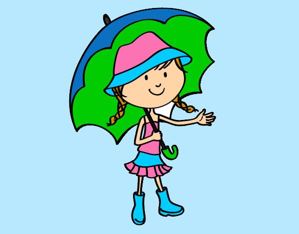 Dibujos De Paraguas Para Colorear E Imprimir: Dibujo De Niña Con Paraguas Pintado Por Carmenjuan En