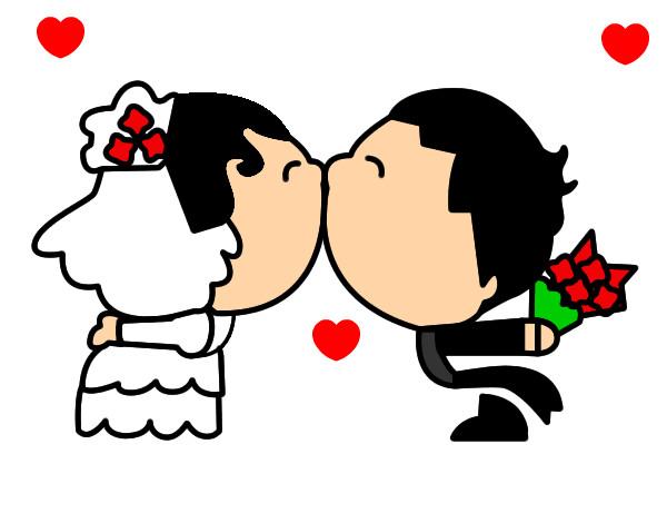Dibujo De Beso De Recién Casados Pintado Por Aidee25 En