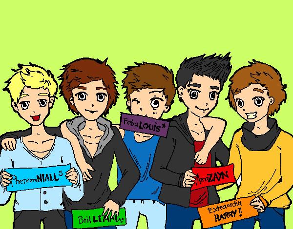 Dibujos Para Colorear De Chicos: Dibujo De Los Chicos De One Direction Pintado Por Hotzayn