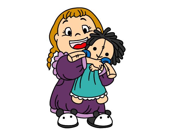 Dibujo de Niña con su muñeca pintado por Maria102 en Dibujos.net ...