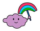 Dibujo Nube con arcoiris pintado por Milu_01