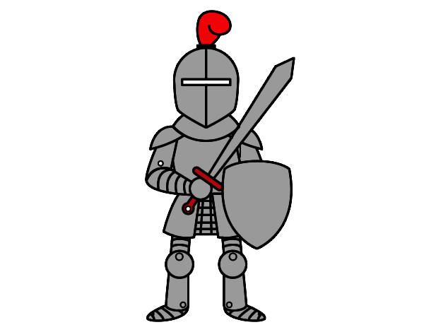 Dibujo de Caballero con espada y escudo pintado por Kenyer en ...