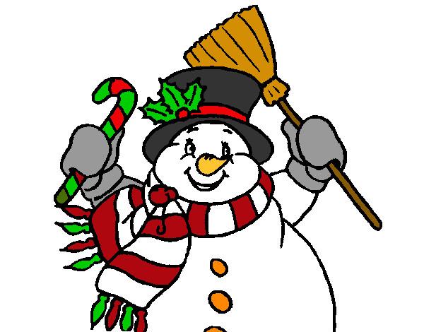 Dibujo de mu eco de nieve con bufanda pintado por - Dibujos en color de navidad ...