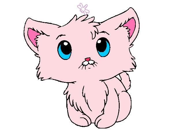 Dibujo de gatito lindo pintado por estrella3 en dibujos - Dibujos de gatos pintados ...