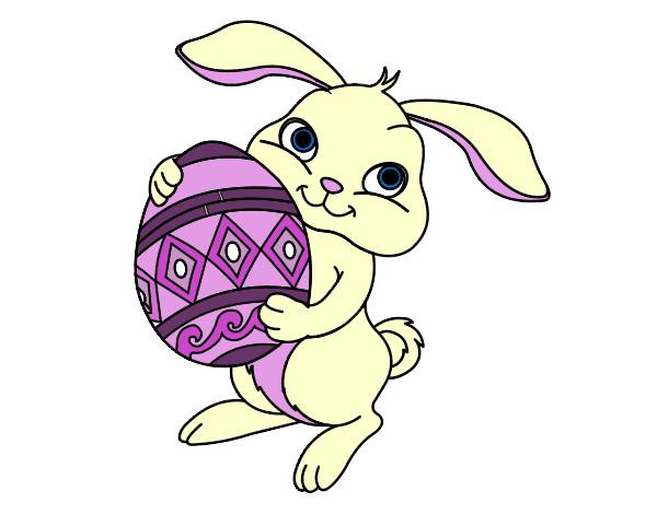 Dibujo de Conejo con huevo de pascua pintado por Eluney en Dibujos ...