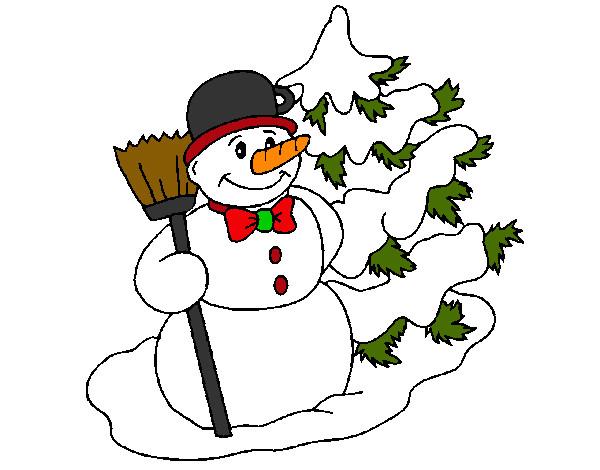 Dibujo de Muñeco de nieve y árbol navideño pintado por