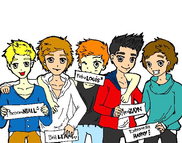 Dibujos Para Colorear De Chicos: Dibujo De Los Chicos De One Direction Pintado Por